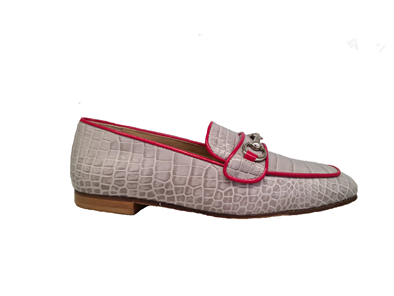 Hb Grey Moccasin With A Red Leather Trim